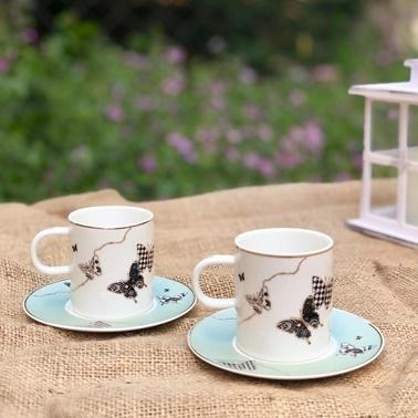 Acar Kelebek Desenli Yeşil Kahve Fincan Takımı 6 Kişilik Renkli